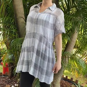 Free People Gray Plaid Babydoll Collar Blouse